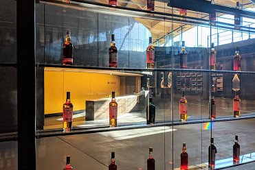 Close up of whiskey display cases at the Macallan